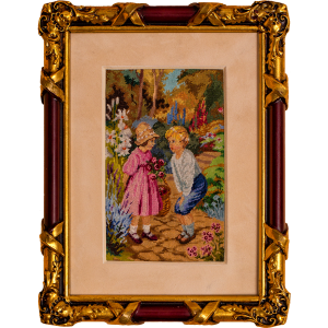 Kids in the garden, petit point luxury embroidery