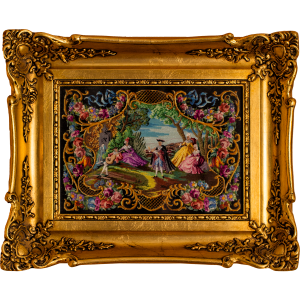 Rococo style scene with floral ornament, petit point luxury embroidery