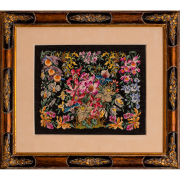 Floral ornament, petit point luxury embroidery